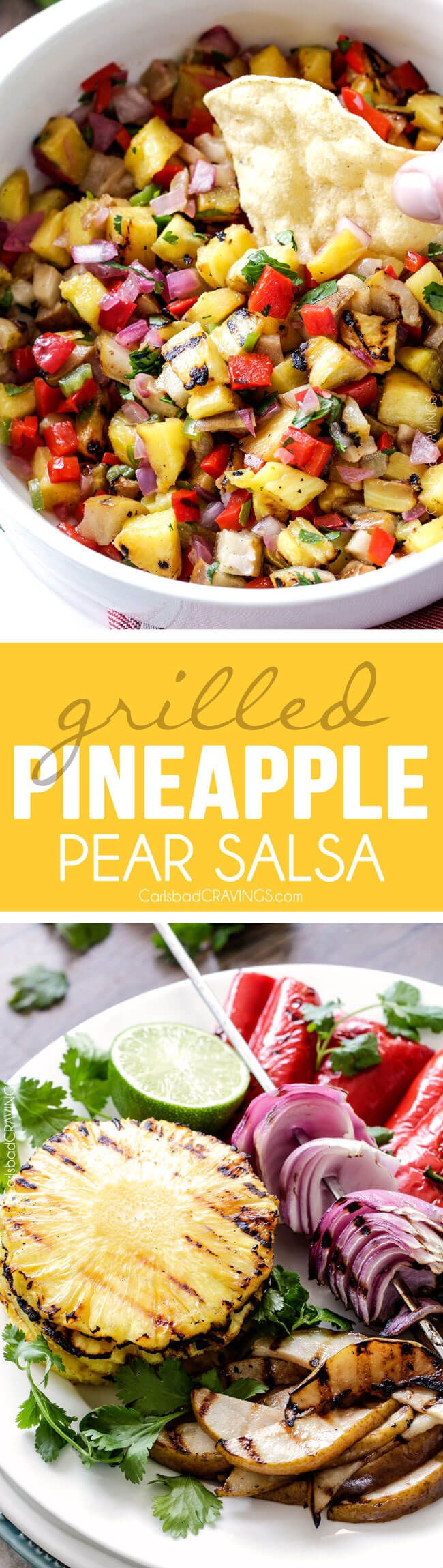 Salsa - the combination of grilled pineapple, pears, red bell peppers ...
