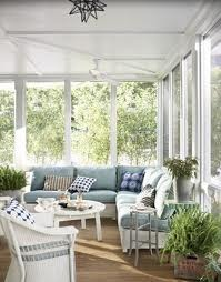 Garden room. Love the use of the corner sofa and tranquil colours.