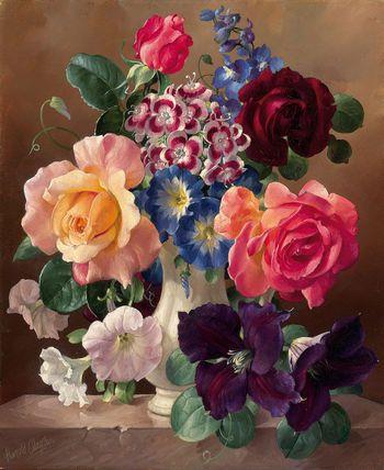 Harold Clayton (1896 - 1979) - Summer flowers