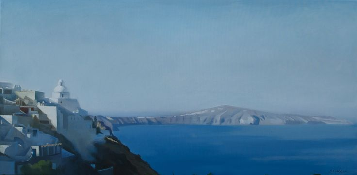 пейзаж ,греция, санторини, холст-масло 40x80