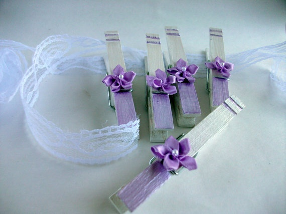 Lavender Purple Hand Painted Clothes Pins set of 5 by witnwhim, $8.00