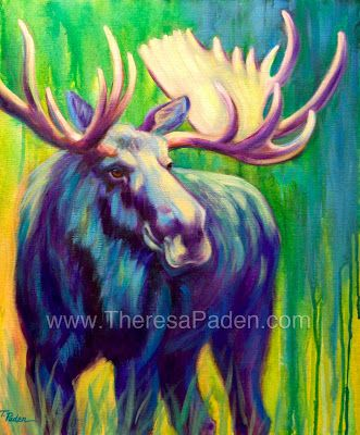Paintings by Theresa Paden: Colorful Contemporary Moose Painting, Wildlife Art by Theresa Paden
