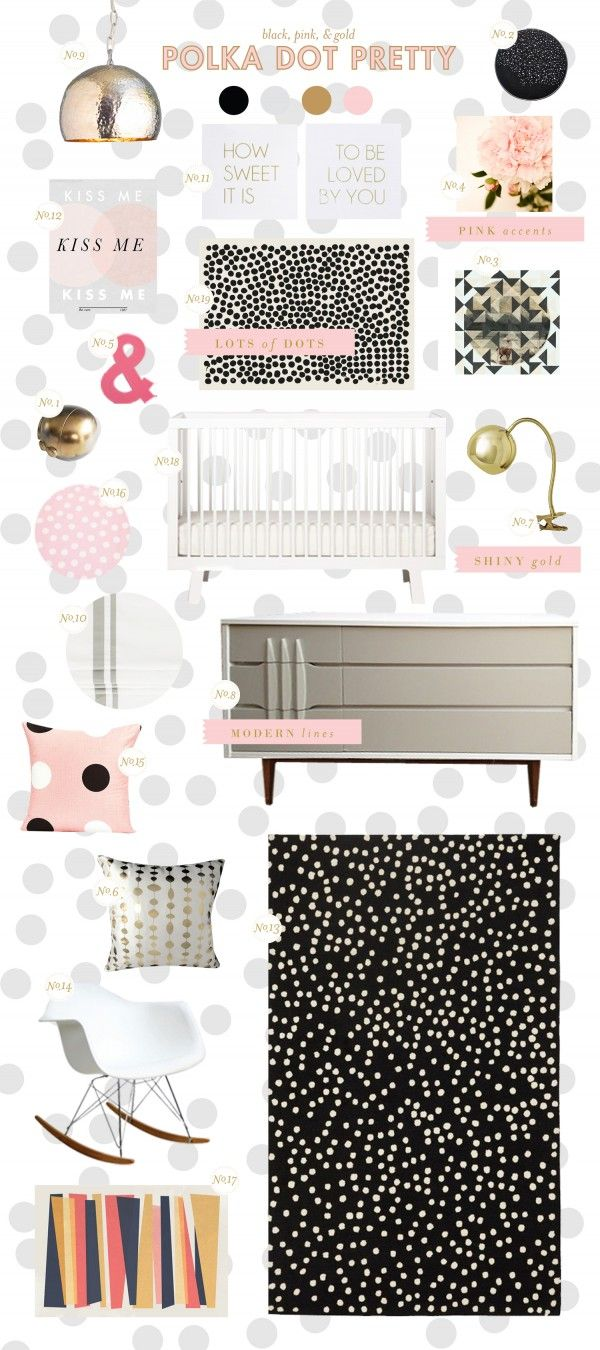 Lay Baby Lay: polka dot pretty: Polka Dots, Style Boards, Nurseries Nurseries, Black White, Baby Girls, Girls Nurseries, Girls Rooms, Pink Black, Baby Nurseries