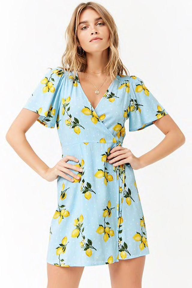 da4709b6608 Lemon Print Mini Wrap Dress