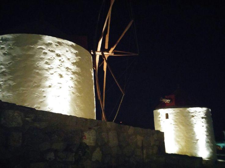 Astypalaia mills at night
