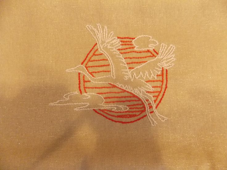 My work hand embroidery, motifs of Japanese culture