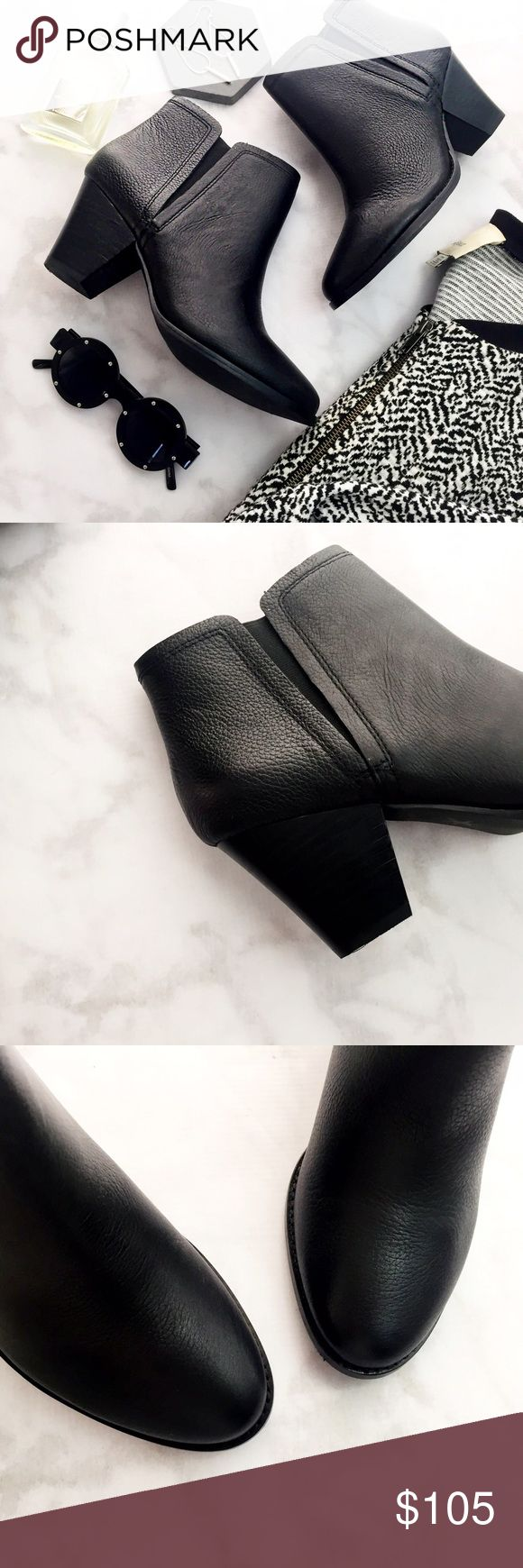 """Black Leather Ankle Boots Details: * Size 8.5 * Black pebbled leather * Pull-on style with elastic goring * 3"""" heel * Brand new in box 11231603 Splendid Shoes Ankle Boots & Booties"""