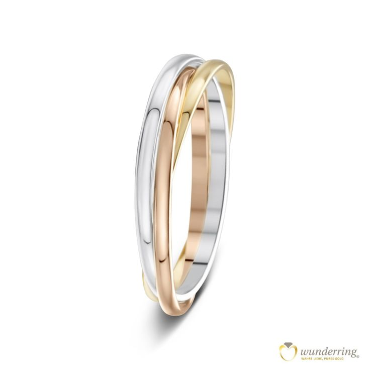 Tricolor Ehering/Trauring Montoro bestehend aus drei sehr feinen, ineinander verschlungenenen Ringen in 750er/18 Karat Weißgold, Gelbgold und Roségold. Jetzt als Musterrring testen! #Hochzeit #französischesdesign