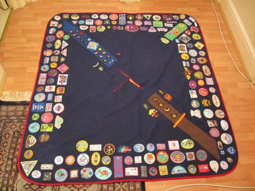 Camp Blanket Andrea L UK by Girl Guides of Canada, via Flickr  Great idea,  been trying to find blanket ideas for my own crests, badge scarfs and neck scarves