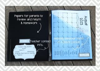 Take Home folders with page protectors. Exactly what I was thinking with a few changes!                                                                                                                                                      More