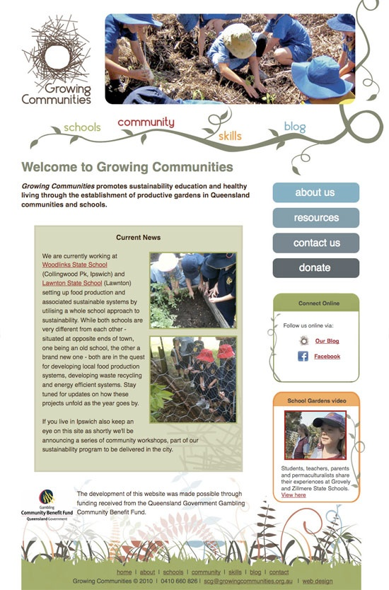 Web design for Growing Communities, a not for profit organisation in Brisbane | Sustainable gardens for schools and community parks.