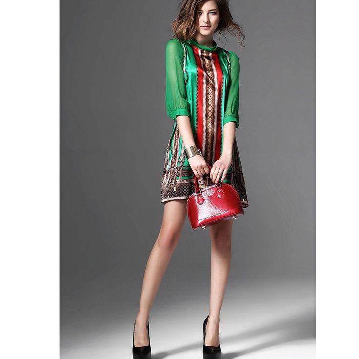 Brand New European Fashion Elegant Pattern Green Print Retro Vintage Dresses For Lady Plus Size Clothing