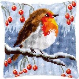 Borduurpakket  voorbedrukt kruissteekkussen roodborstje in de sneeuw van vervaco pn-0149810