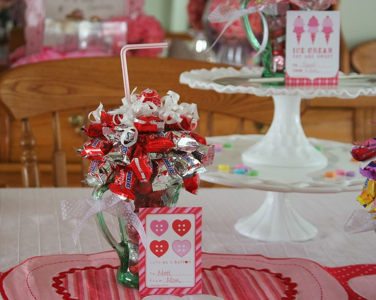 Valentine's Day Candy Sundaes / Ice Cream Soda