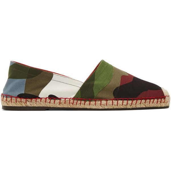 Valentino Multicolor Canvas Camouflage Espadrilles (€500) ❤ liked on Polyvore featuring men's fashion, men's shoes, valentino mens shoes, mens camo shoes, mens canvas shoes, mens woven shoes and colorful mens shoes