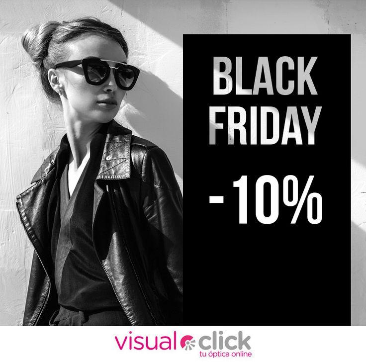 ¡Lo estabas deseando! Llega el #BlackFriday a Visual-Click, tu óptica online ¡Todas las #GafasDeSol y #GafasGraduadas con -10% de #descuento!  https://www.visual-click.com/
