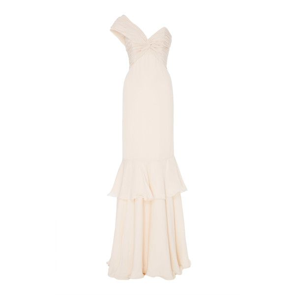 The Antes Del Amanecer Dress | Moda Operandi (51,395 CNY) ❤ liked on Polyvore featuring dresses, one-sleeve dress, ruched dress, white silk dress, white cocktail dress and one shoulder cocktail dress