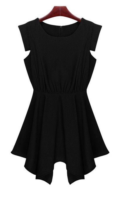 Round Neck Sleeveless Bottoming Dress Black
