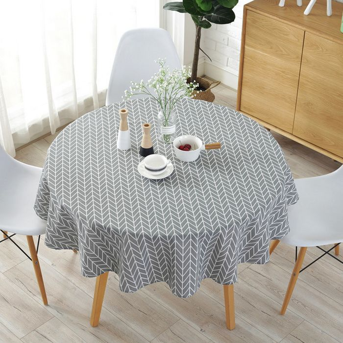 Nordic Polyester Cotton Round Table Cloth Custom Made With Color Triangle Yellow Rice Gray Arrow Cotton Round Table Decor Table Cloth Simple Table Decorations