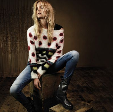 TWIN-SET Simona Barbieri, 2015/16 winter jeans collection: jacquard pullover, Jeans with blue destroyed wash in chino fit and padded leather bikers
