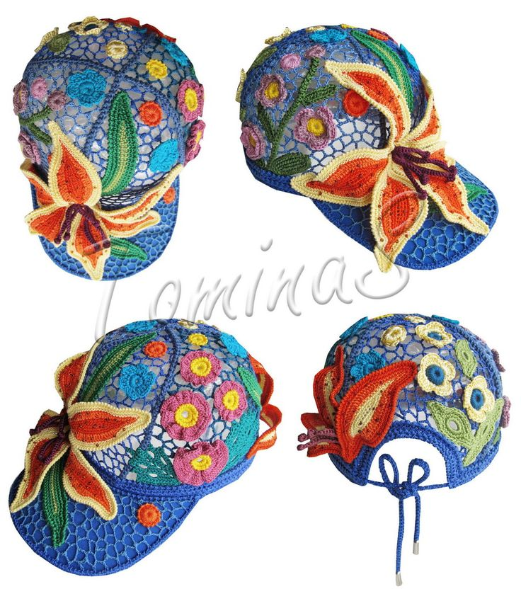 """Crochet baseball cap """"DAY-LILY"""" (lace cap, summer crochet cap, women's baseball cap, crochet cap, irish lace hat)"""