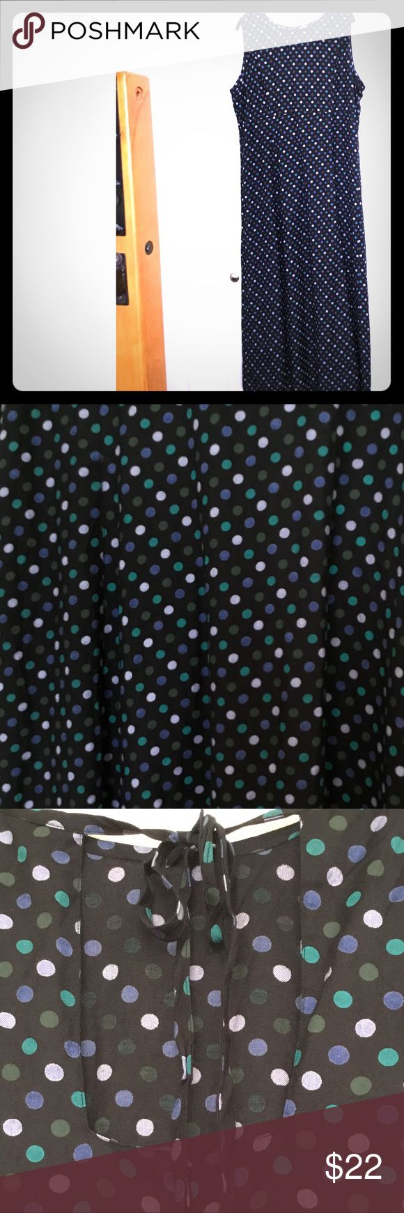 Great Polka Dot Long Dress Long black rayon sleeveless dress with purple and green polka dots.  Beautiful flow.  Second photo enlarges pattern.  Third photo shows back square keyhole and tie detail.  Back zip.  Size 18 but runs closer to a 16.  NWT but has been in storage.  Never worn. Sophia Rose Dresses Maxi