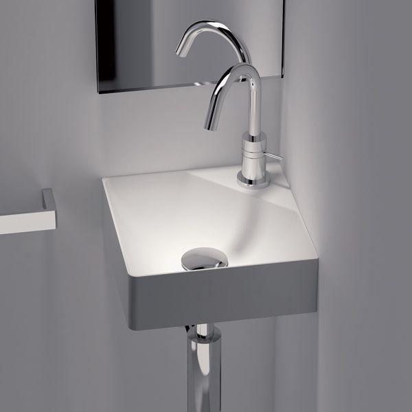 Lave-mains d'angle 30x30 cm Fancy blanc mat