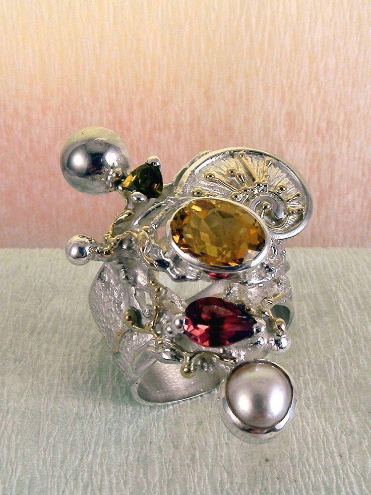серебро и 14-каратное золото, зеленый турмалин, гранат, цитрин, жемчуг, Григорий Пыра Пиро кольцо 9435