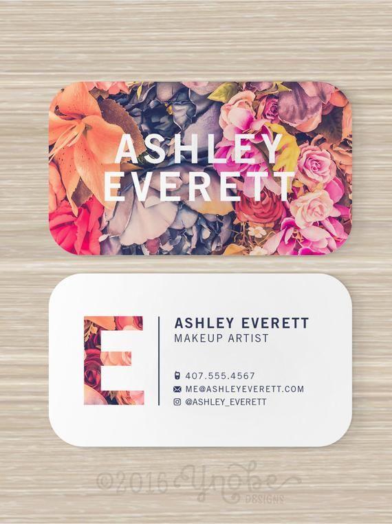 Floral Business Card Flowers Makeup Artist Vistaprint 3 5 Etsy In 2021 Artist Business Cards Floral Business Cards Vistaprint Business Cards