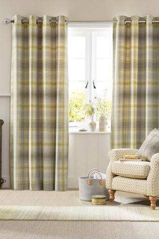 Buy Ochre Cosy Woven Check Eyelet Curtains from the Next