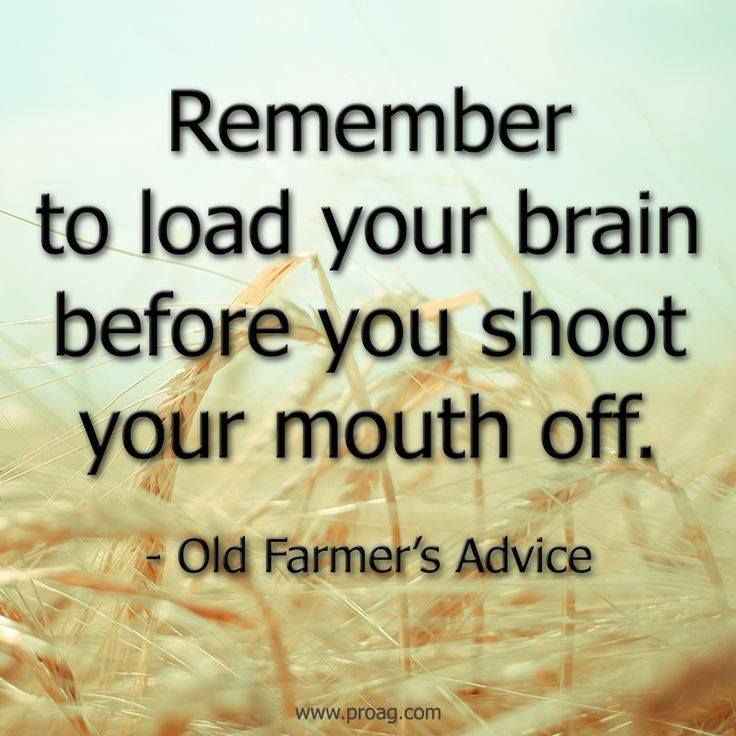 Remember to load your brain before you shoot your mouth off.                                   ~Old Farmer's Advice
