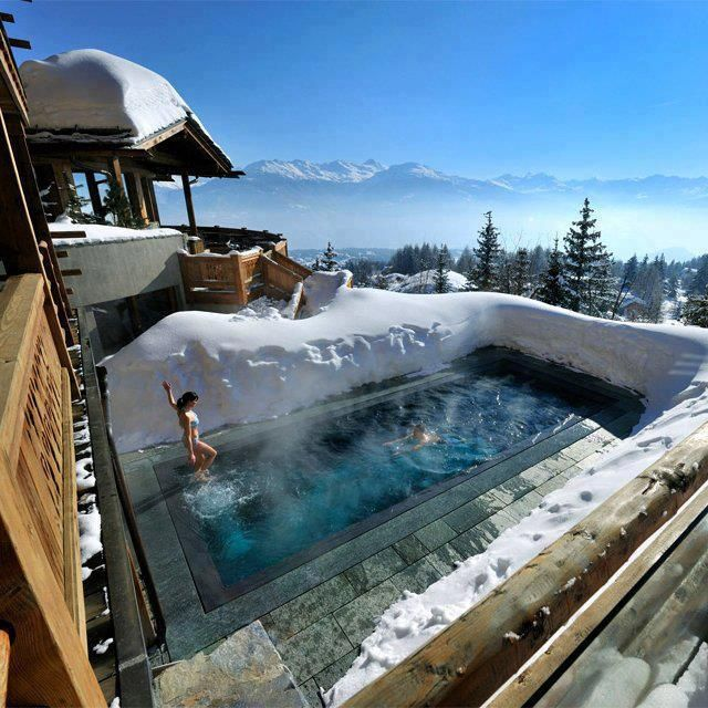 Spa pools at LeCrans Hotel & Spa in Switzerland