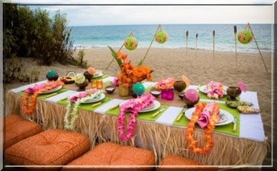 Festa HavaíTables Sets, Luau Parties, Theme Parties, Summer Parties, Beach Parties, Parties Ideas, Parties Tables, Hawaiian Luau, Parties Theme