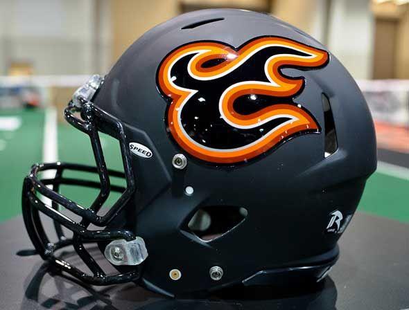 Utah Blaze helmet, 2011.  One of my favorite helmets in the Arena Football League.