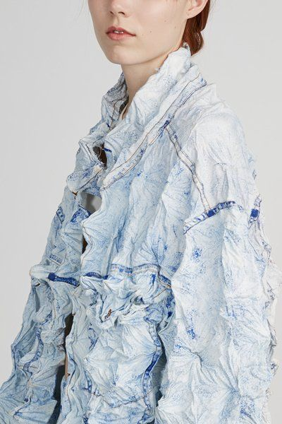 Faustine Steinmetz - Handpainted Pleated Denim Jacket