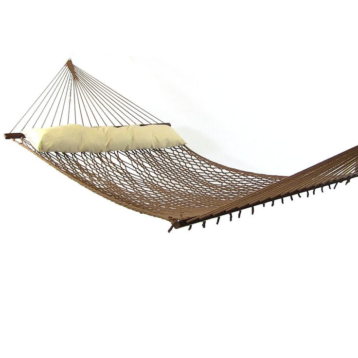 Sunnydaze Polyester Rope Hammock with Spreader Bars (Pillow NOT Included) (Hammock Only - Brown) (Cotton) #Sunnydaze Decor, Patio Furniture