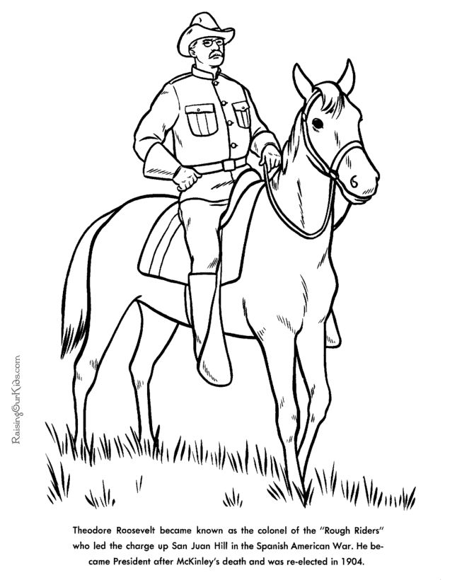 Free printable President Theodore Roosevelt facts and coloring picture