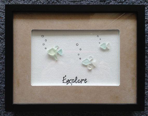 Fish Hawaiian Sea Glass Shadow Box by Wendywen74 on Etsy, $60.00