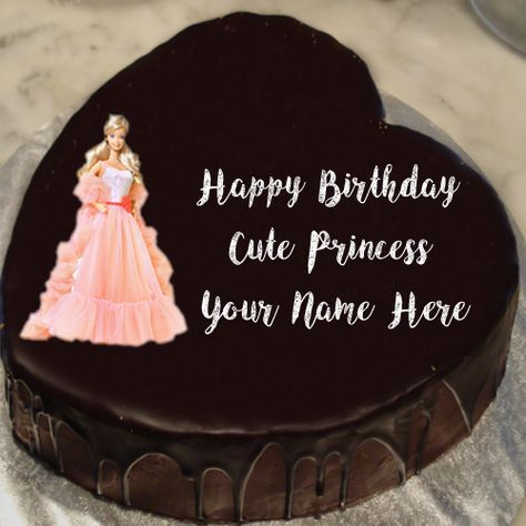 Unique Princess Barbie Doll Birthday Cake Name Wishes Image Open