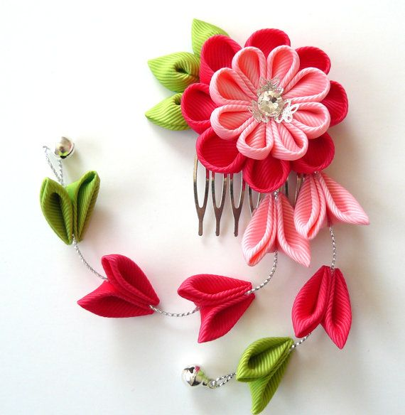 Pink Kanzashi Fabric Flower hair comb with falls. Pink by JuLVa