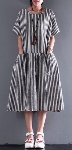 2017 new summer linen dress elastic waist sundresses casual oversize maxi dress