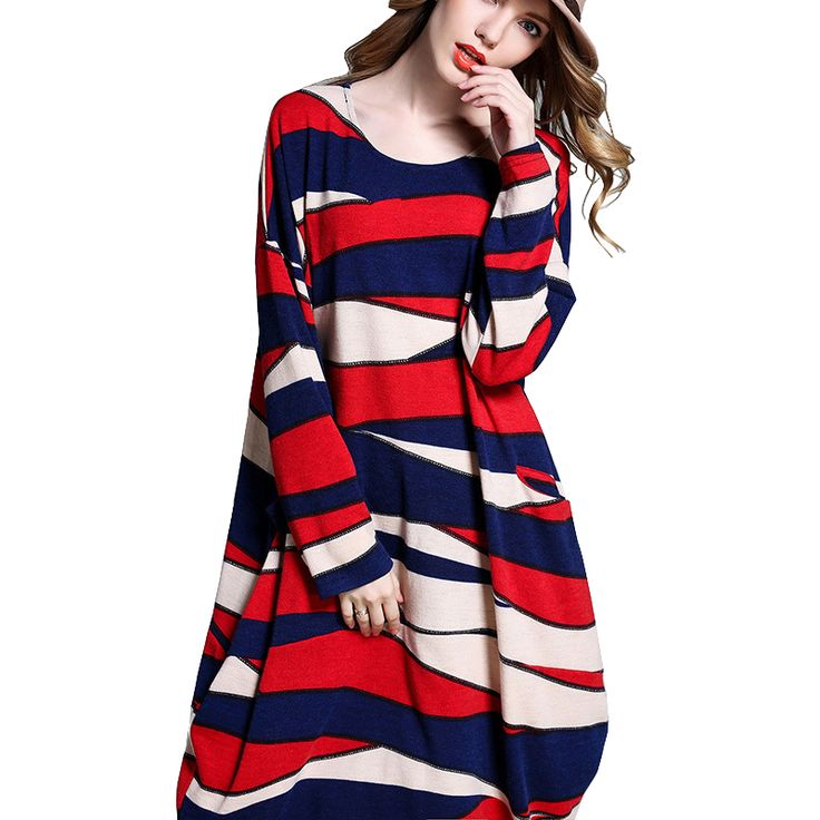 Winter Autumn Contrast Color Dress Punk Hip Hop striped Geometric patterns Dress Big Size 4xl Hippie Dresses Beautiful Disfraces