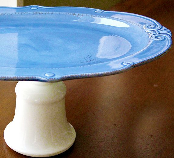 Oval Cake Stand 15 Royal Blue Cake Pedestal by TheRocheStudio, $60.00