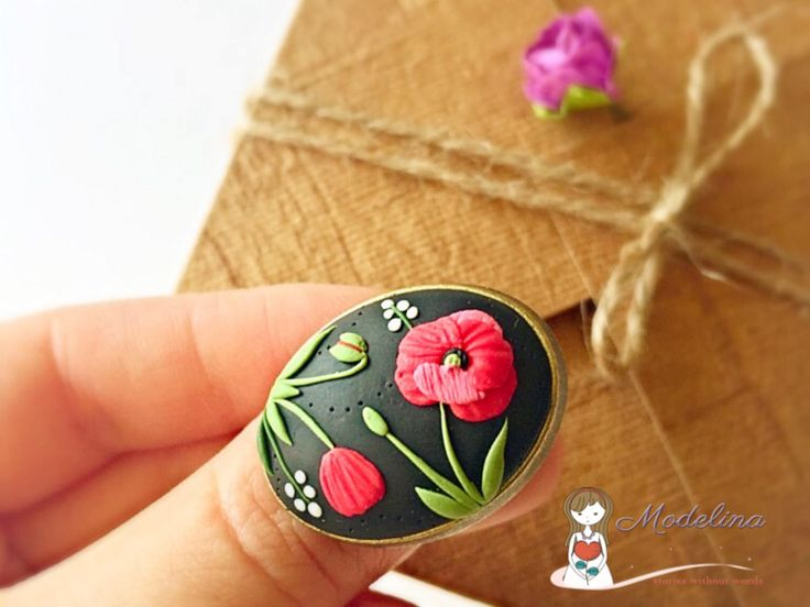 Floral ring, poppy flower, polymer clay applique, clay embroidery, red flowers and black by ModelinaClayStories on Etsy https://www.etsy.com/listing/523623803/floral-ring-poppy-flower-polymer-clay