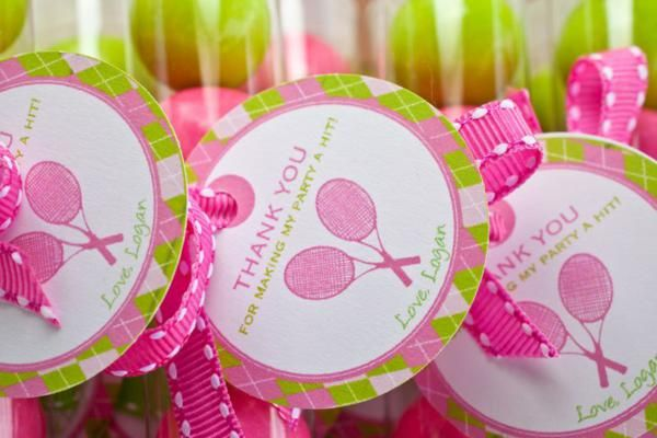 Gift bags for tennis themed party. - way future party idea, but I love the idea of a physically active party.