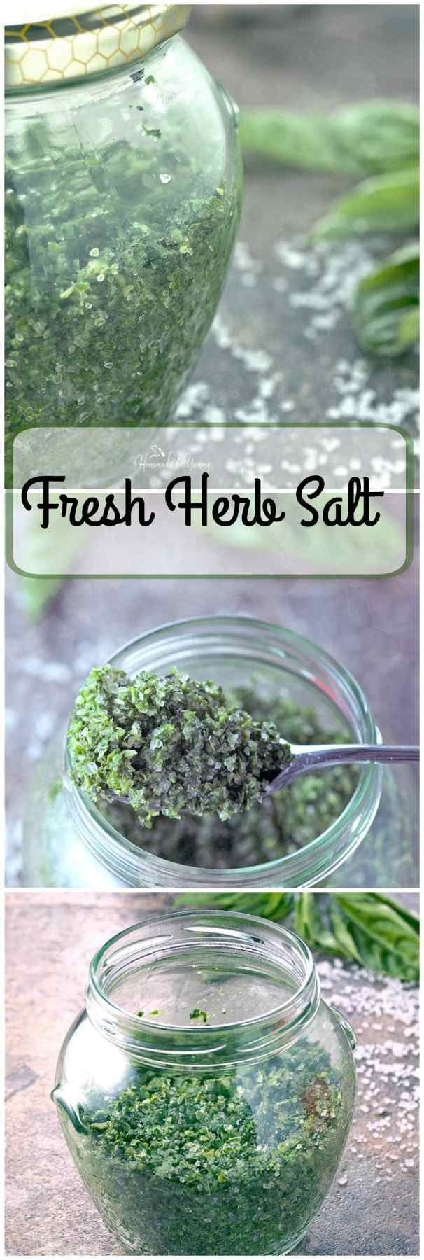 Fresh Herb Salt is so easy to make. Perfect way to preserve all those wonderful garden/market herbs. | homemadeandyummy.com