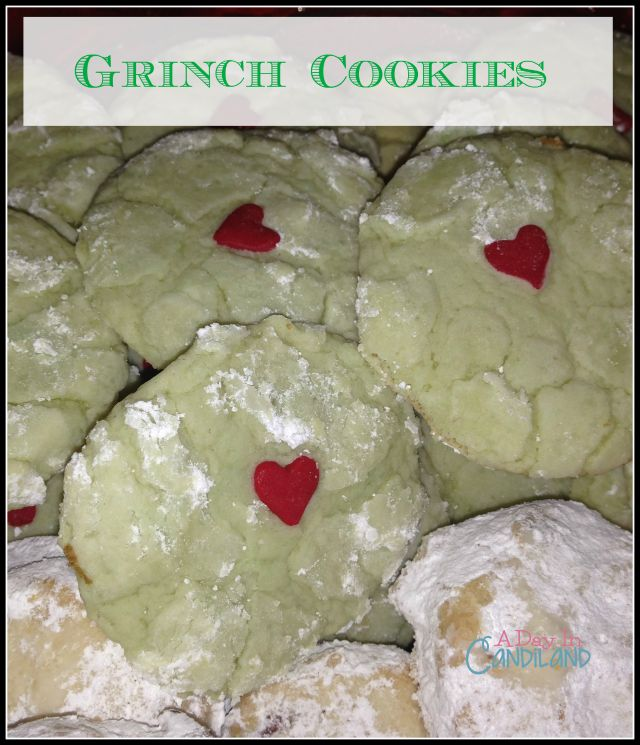 A Day In Candiland | Grinch Cookies with Red Hearts Easy to Make  | http://adayincandiland.com