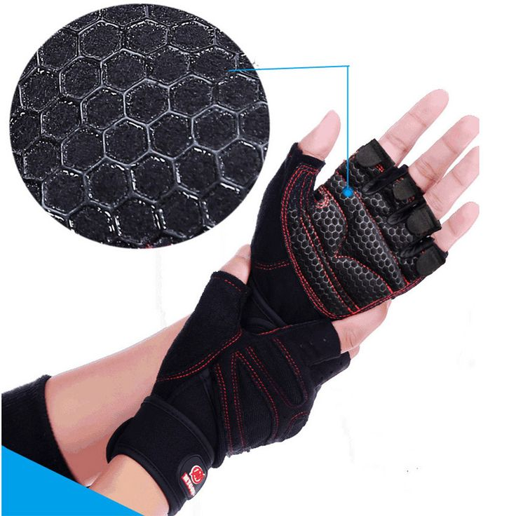 Weight Lifting Gym Gloves Training Fitness Antislip Wareproof Wrist Wrap Workout Exercise Gaming 3 Color In Pair Black M
