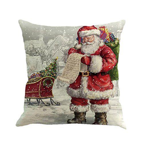 """Sothread Christmas Throw PillowCase Decor Sofa Cushion Cover Santa Claus 18""""x18"""" (H)"""