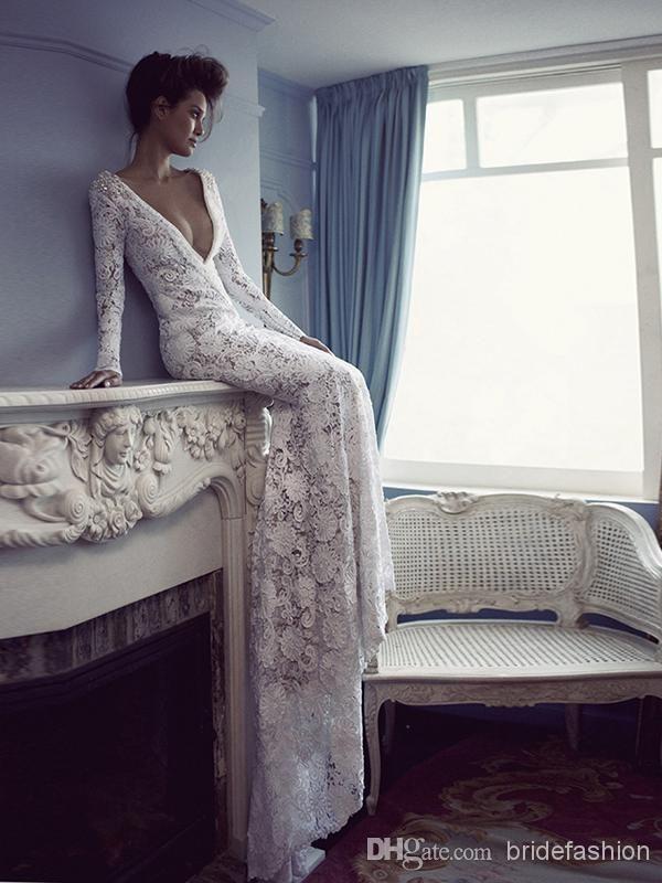 2014-new-fancy-v-neck-white-lace-evening